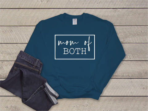 Mom of Both Crewneck- Dark Teal