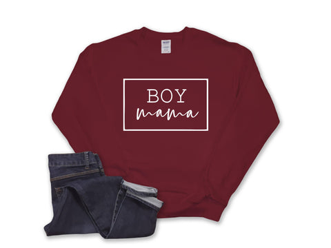 Boy Mama Crewneck- Burgundy