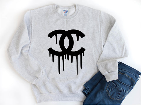 Designer Inspired Gray Crewneck