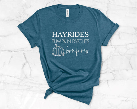 Hayrides Pumpkin Patches Bonfires (Dark Teal)