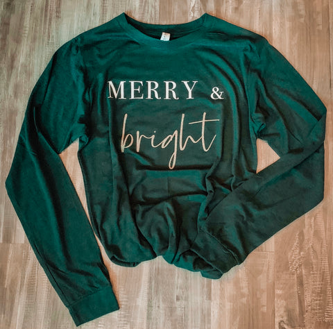 Merry & Bright Long Sleeve Tee- Forest Green