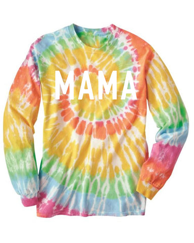 MAMA Tie Dye Long Sleeve Tee