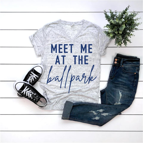 Meet me at the ballpark (Adult-White Marble/Blue)