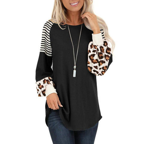 Chic Womens Shoulder O Neck Long Puff Sleeve Leopard Stripes Print Pullover Loose Ladies down coats