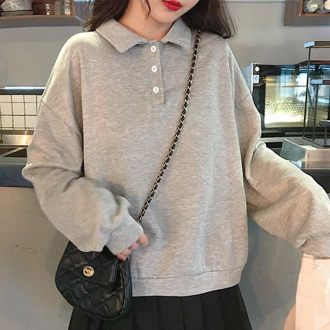MinuoYi In Stock Spring Autumn Winter Sweatshirts Korean Solid Polo Women Shirt Loose Boyfriend Style Female Sweatshirt Pullover