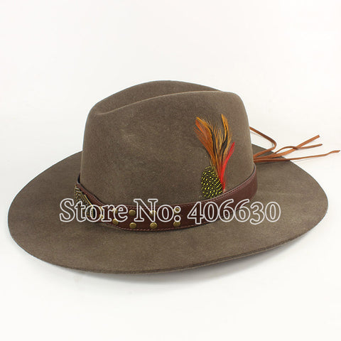 Winter Quality Feather Mens Wool Felt Cowboy Hats With Leather Band Chapeu  Masculino Free Shipping PWSX b200016a80fd