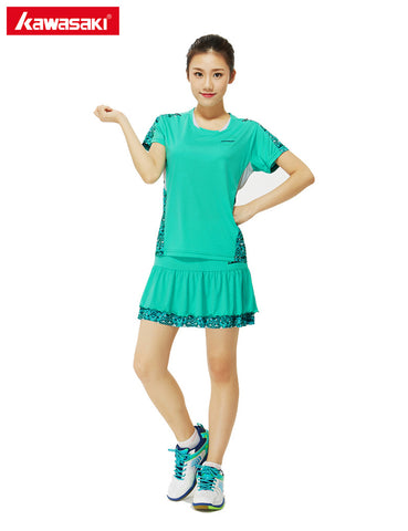 KAWASAKI Clothing Women Sports Set Badminton Tennis Suit 100% Polyester Quick Dry Breathable T-Shirt with Pleated Skirt Skort