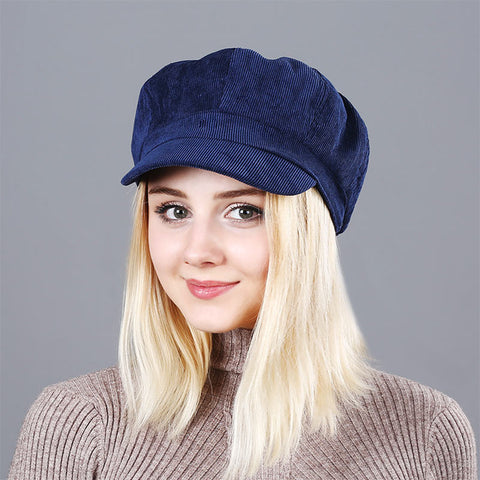 Women's Beret Hat New Arrivals Octagonal Hats For Women Fashion Corduroy Vintage Boina Autumn Winter  Newsboy Caps