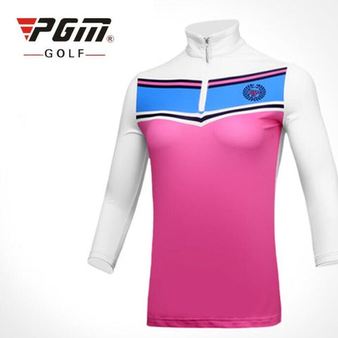 PGM Women's Golf Shirts Anti-UV Outdoor Sportswear Three-Quarter Polo Shirt Breathable Female Golf T-shirts Sun Protection Tops