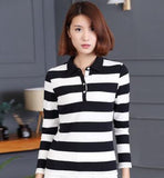 Spring Sportwear Polo Collar Long Sleeve Shirt Comfy Breathable Performance Polo Shirt Stripes Slim Golf Shirts Women Plus Size