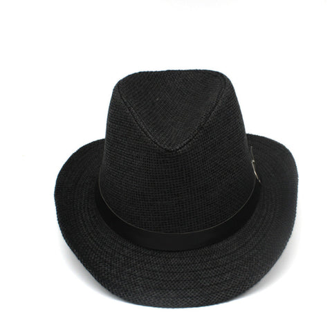 Summer paper straw Fedoras jazz hats with Belt Buckle Outdoor wide brim Beach Travel Sunhat sunshade Cowboy Hat for men women