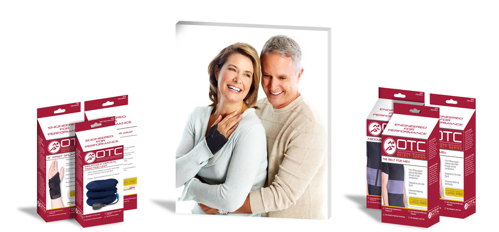 OTC packaging standing next to a central image of a smiling woman wearing a wrist brace while being held by a man