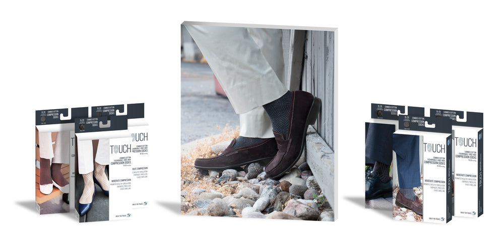 Touch packaging standing next to a central image of a man's feet, wearing compression stockings and brown loafers, leaning on a fence