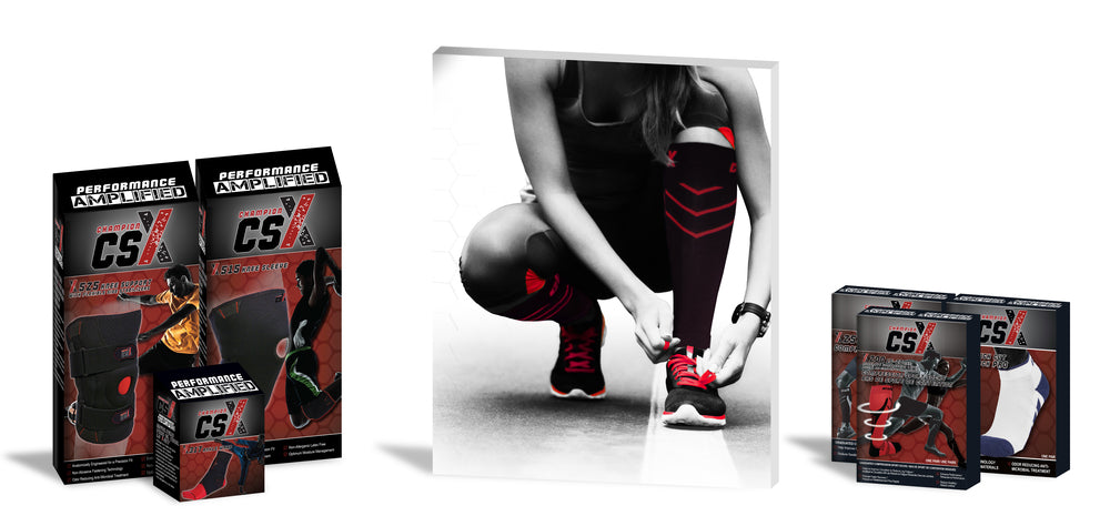 CSX packaging standing next to a central image of a woman wearing compression stockings tying up her running shoes on a road