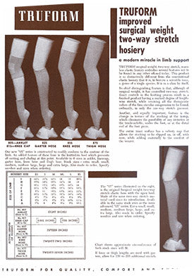 Page from an antiquated catalogue featuring Truform's surgical weight two-way stretch hosiery