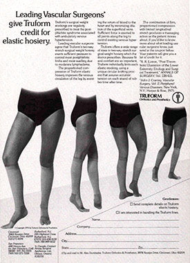 Page from an antiquated catalogue discussing leading vascular surgeons giving Truform credit for elastic hosiery