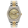 Rolex Date Men's 36MM Black Mother of Pearl Dial Stainless Steel and Yellow Gold Bracelet