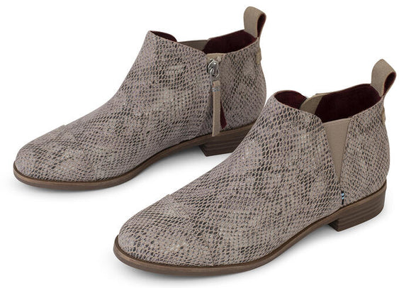 TOMS REESE PRINTED SUEDE BOOTIE