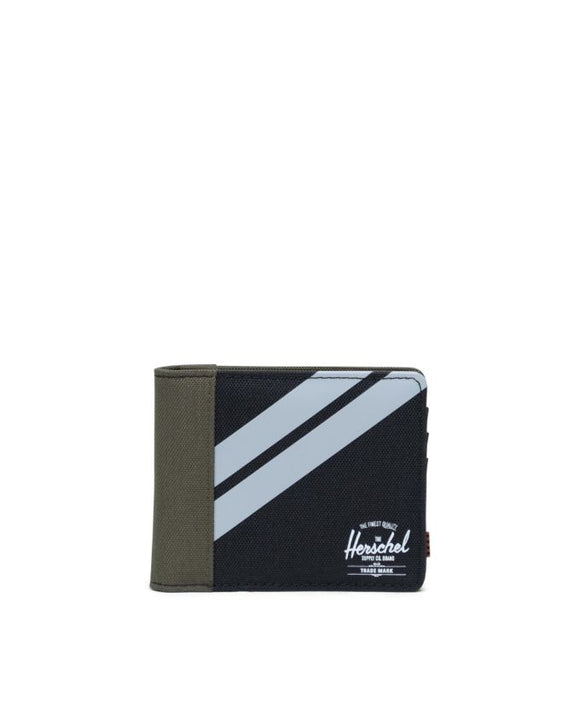 HERSCHEL ROY WALLET BLACK/IVY GREEN/LT GREY CROSSHATCH