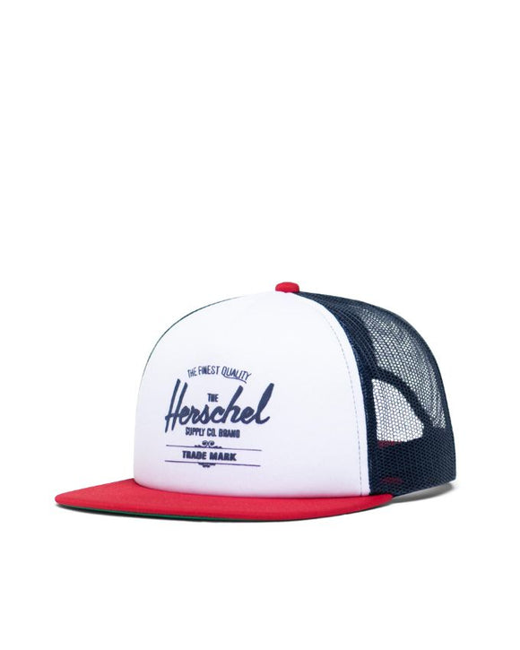 HERSCHEL WHALER MESH HAT WHITE/PEACOAT/TANGO RED