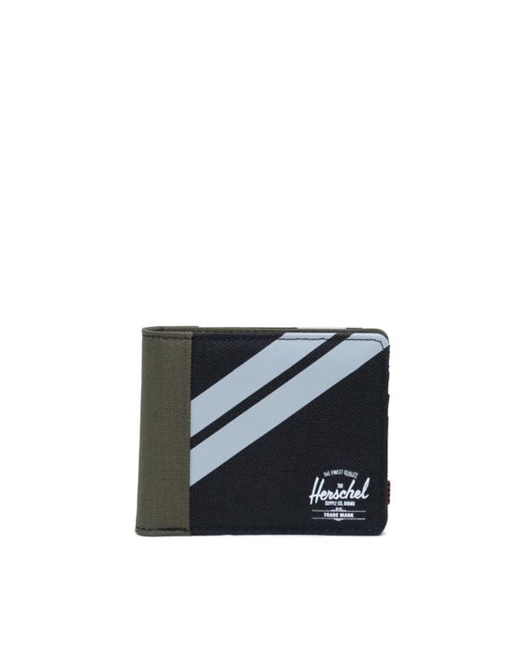 HERSCHEL ROY WALLET COIN BLACK/IVY GREEN/ LT GREY CROSSHATCH