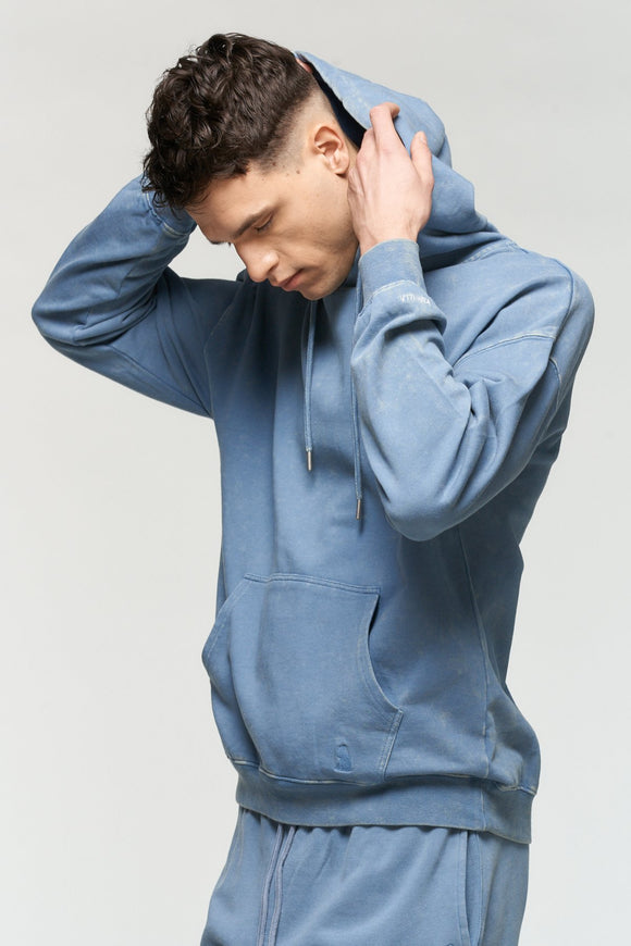 KUWALLA VINTAGE WASHED HOODIE CAPTAIN BLUE