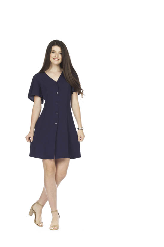 PAPILLON BUTTON FRONT PANELLED DRESS