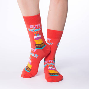GOOD LUCK SOCK HAPPY BIRTHDAY CREW SOCKS WOMENS 5-9