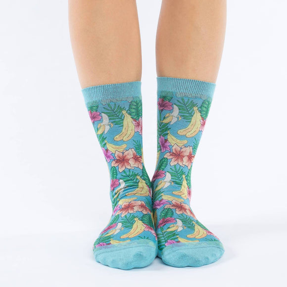 GOOD LUCK SOCK FLORAL BANANA ACTIVE SOCKS WOMENS 5-9