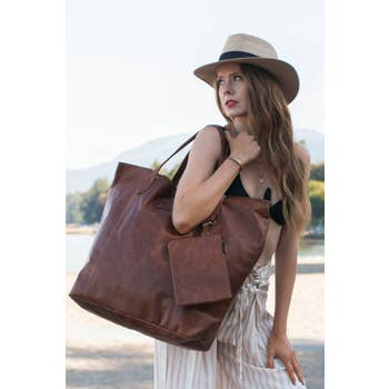 RISA RACHEL OVERSIZED LEATHER BAG CRAZY HORSE