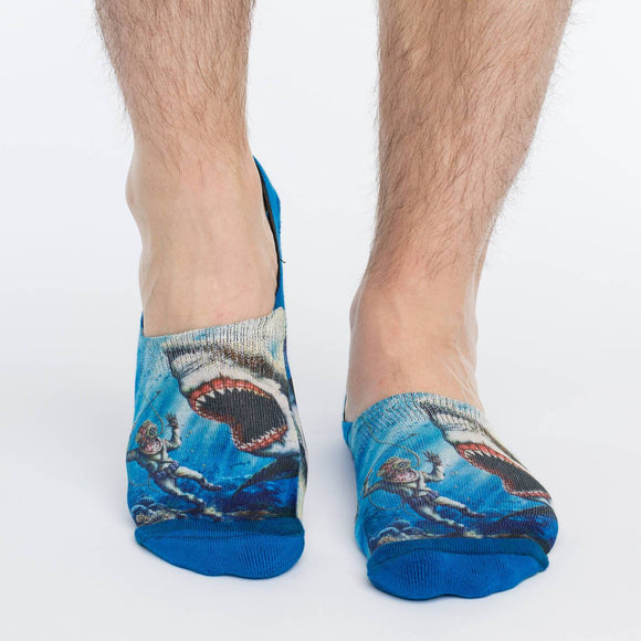 GOOD LUCK SOCK SHARK ATTACK NO SHOW SOCKS MEN'S 7-12