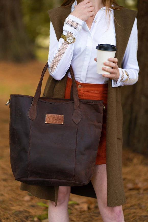 RISA BAGS MARIE TOTE + CROSSBODY OILED BROWN