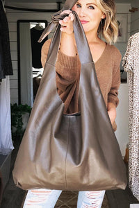 RISA THE KNOT CLASSIC TOTE BAG BROWN LEATHER