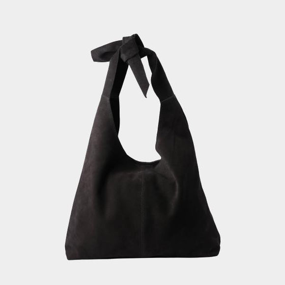 RISA THE KNOT CLASSIC TOTE BAG BLACK SUEDE