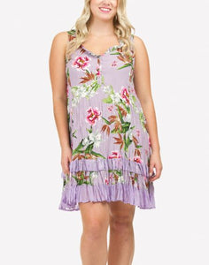 PAPILLON LARGE FLORAL RUFFLE DRESS