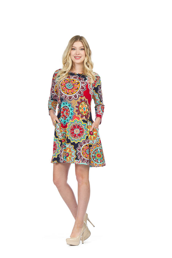 PAPILLON MANDALA PRINT ALINE DRESS
