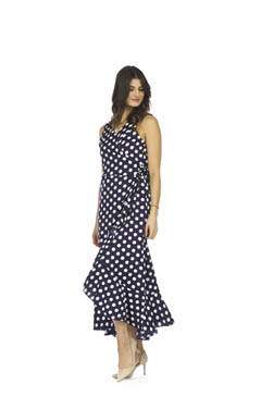 PAPILLON POLKA DOT HI-LO WRAP DRESS