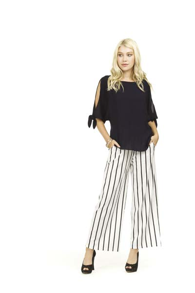 PAPILLON STRIPED WIDE LEG PANT
