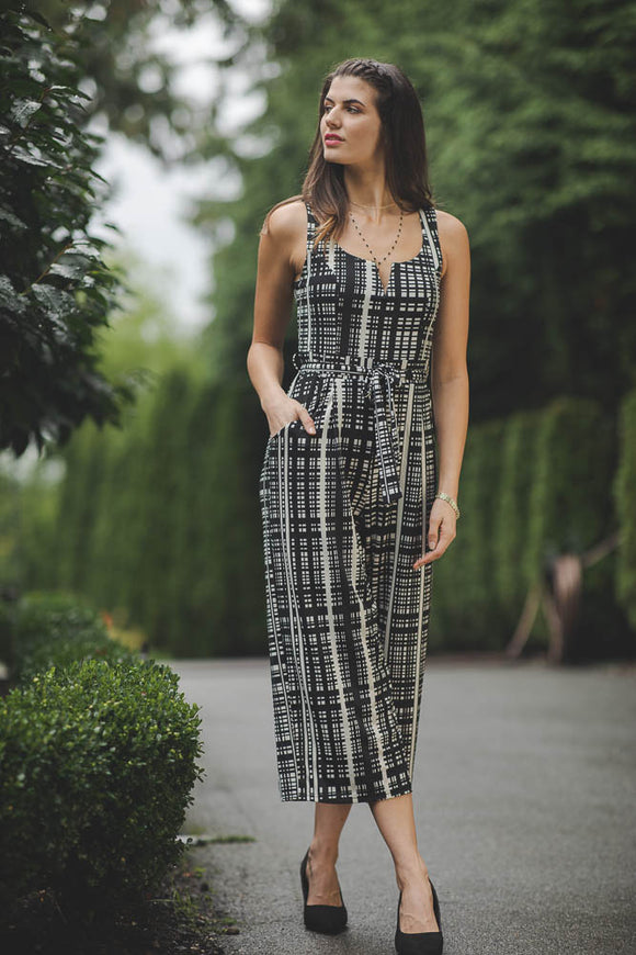PAPILLON V NECK CHECK JUMPSUIT