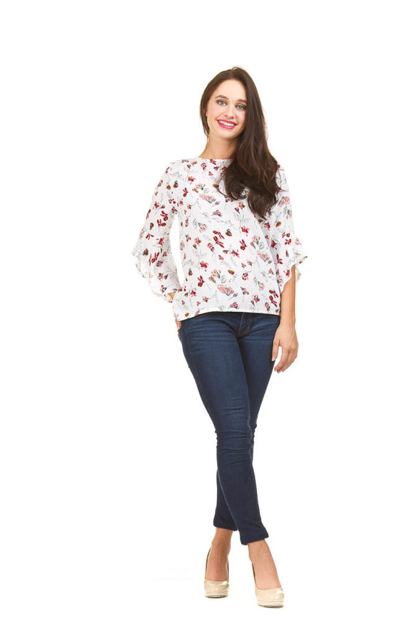 PAPILLON FLORAL RUFFLE SLEEVE TOP
