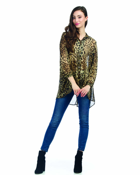 PAPILLON ANIMAL PRINT HI-LO BLOUSE