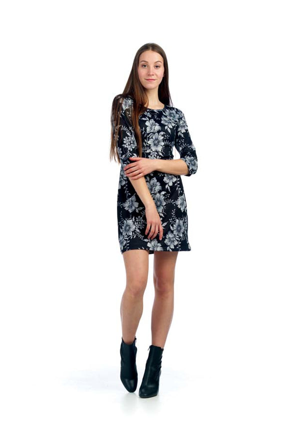PAPILLON FLORAL 3/4 SLEEVE SWEATER DRESS