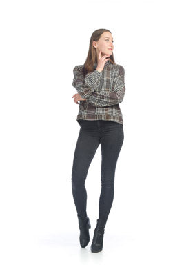 PAPILLON KNIT PLAID SWEATER WITH COWL NECK
