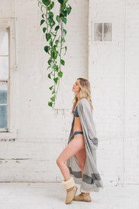 TOFINO TOWEL THE SERENE KIMONO WITH BELT GREY