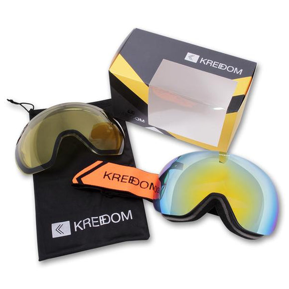 KREEDOM YARD SALE GOGGLE MATTE BLACK/SMOKE WITH ORANGE MIRROR