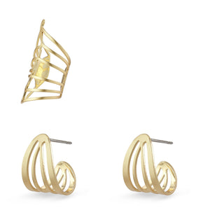 PILGRIM FRIGG EARRINGS GOLD PLATED 3 SET