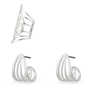 PILGRIM FRIGG EARRINGS SILVER PLATED 3 SET