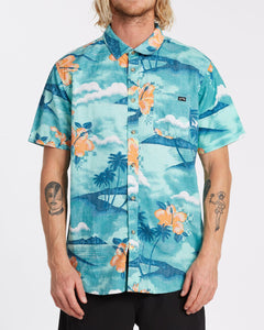 BILLABONG SUNDAYS FLORAL SHORT SLEEVE AQUA BLUE