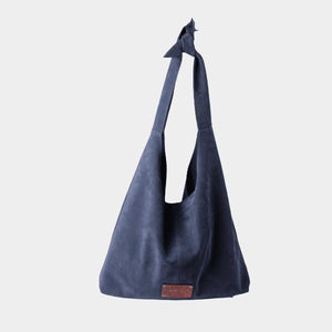 RISA THE KNOT CLASSIC TOTE BAG INK BLUE SUEDE