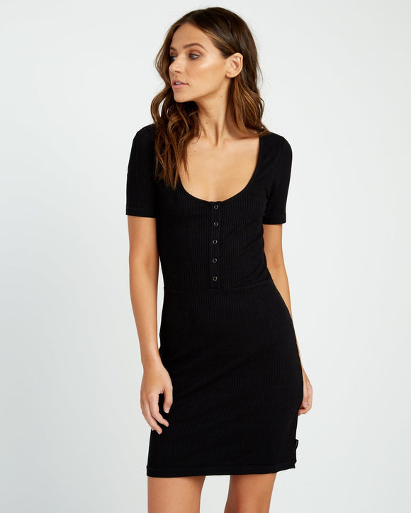RVCA GO FOR BROKE RIBBED DRESS